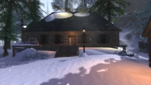 A charming log cabin, set in the snowy wilds of Kestrel's Cry Ravine.  Poly's Winter Cabin, by Polynomia@Gelidra EU.