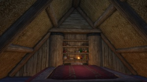 Bearskin Rugs make the perfect lining for this ceiling.  Legion's Bane Lodge, by Jacksen@Faeblight NA.